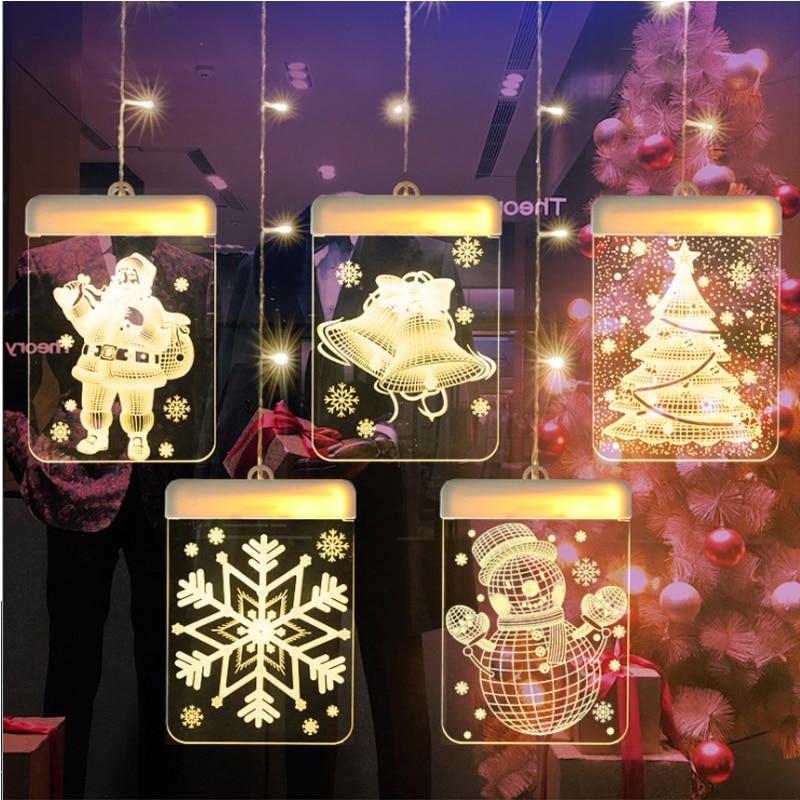 1.5M LED christmas snowflake curtain lights fairy curtain string lights USB Santa Claus wreath lamp new year wedding decoration