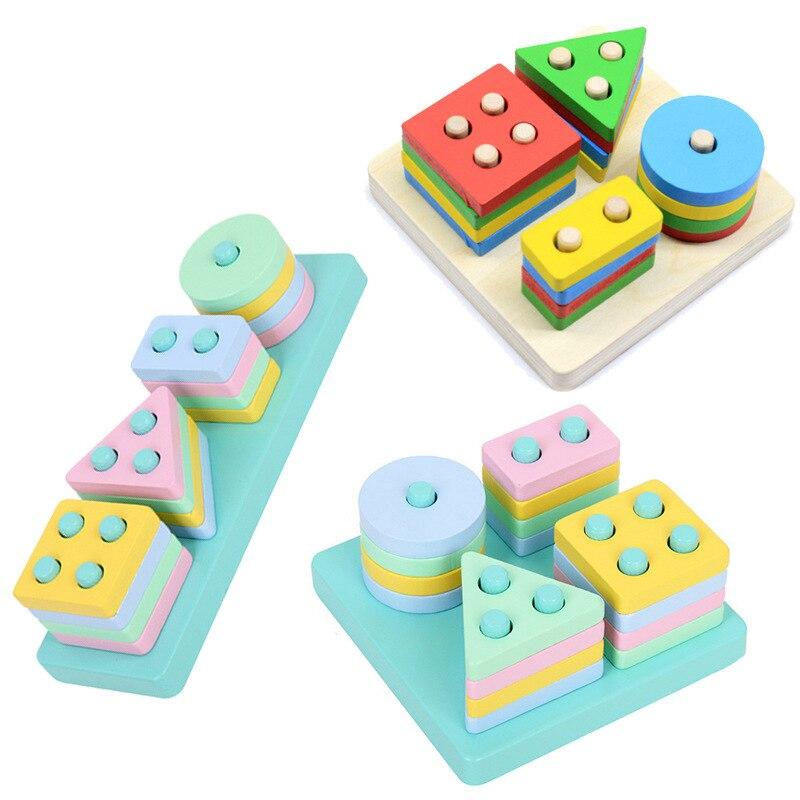 Деревянные 3D просвечивающие игрушки Монтессори, обучающие игрушки для детей, детские красочные деревянные блоки, обучающая игрушка для дет...