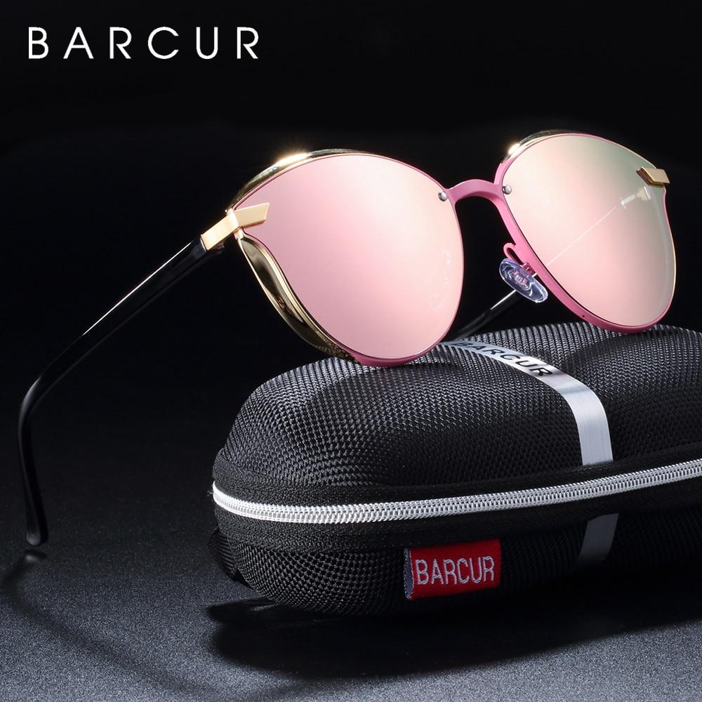 BARCUR Luxury Polarized Sunglasses Women Round Sun Glassess Ladies Lunette De Soleil Femme
