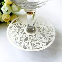 paper tray 100pcs invitation decoration card wine cup laser hollow butterfly seat card signature cup card wedding decoration 6z