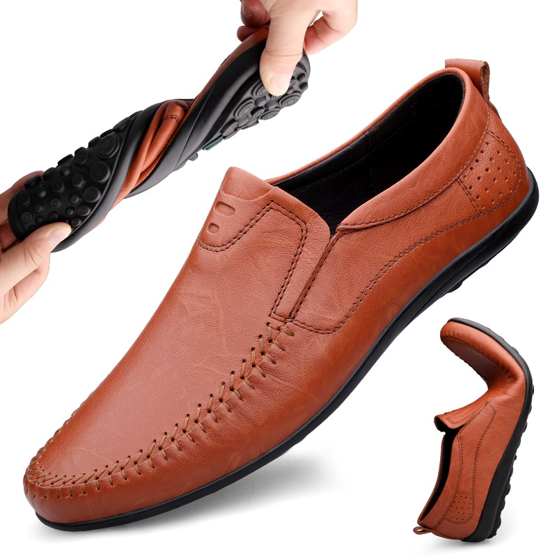 2021 Style Fashion Men's Shoes Casual Genuine Leather Loafers Male Black Brown Slip On Shoe Man Driving Shoes For Men Size 37-46