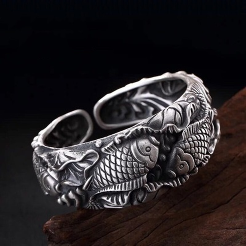 Review 925 Sterling Silver Carved Carp Lady Bracelet Embossed Three-dimensional Pisces Lotus Opening Wide Face Bracelet Jewelry