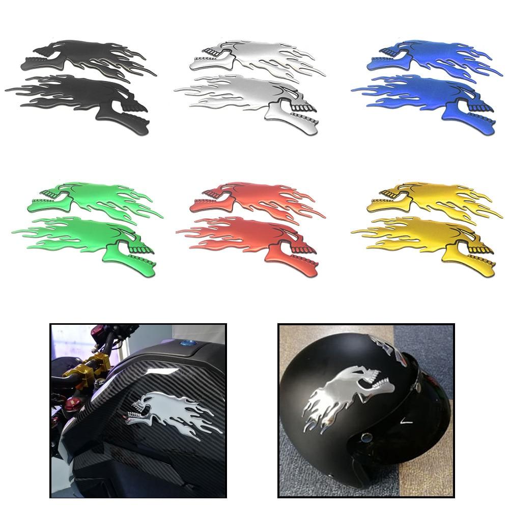 OLPAY Motorcycle Car Universal 3D Emblem Sticker Helmet Skull Decals Fuel Tank Stickers Frame Body D