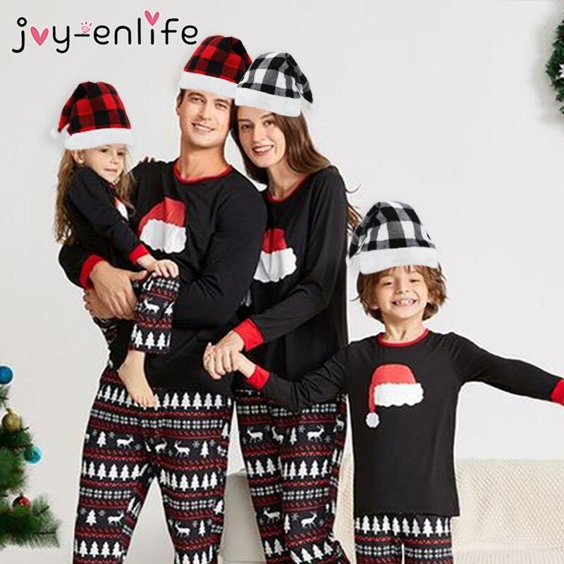 Sombrero de Navidad rojo y negro con patrón de cuadros, regalos de Navidad para niños, decoración de Navidad para el hogar, Navidad 2020, Feliz Año Nuevo 2021