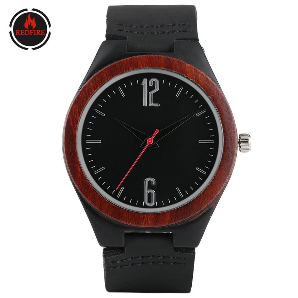 REDFIRE Retro, relojes de madera para hombre, reloj masculino negro de cuero genuino, reloj de pulsera creativo de madera Natural, reloj de cuarzo