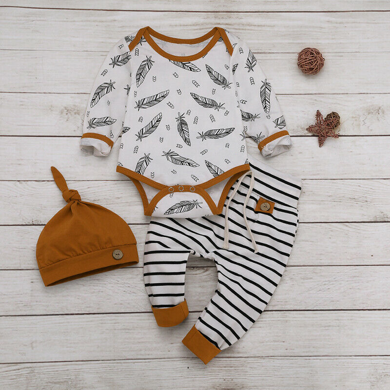 UK 3PCS Newborn Baby Boys Girls Long Sleeve Romper Tops Pants Hat Warm Clothes