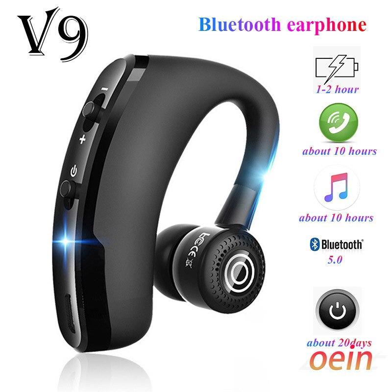 Fones de Ouvido Handsfree sem Fio Fone de Ouvido de Negócios Esportes para Iphone Bluetooth Drive Chamada Samsung v9