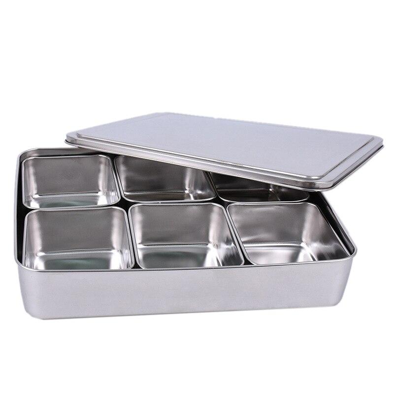 HOT SALE Japanese Stainless Steel Seasoning Box Set Creative Seasoning Jar 6 Grid with Lid Kitchen Health Spice Box