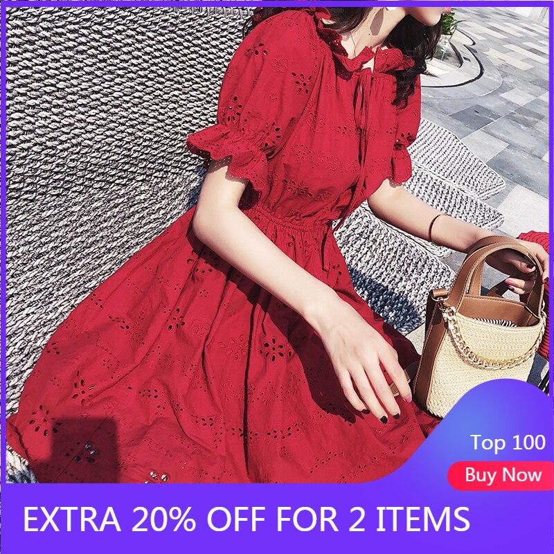 Mishow 2020 Women Hollow Out Retro Lace Dress Ladies Mini Dress Casual Beach Dress Fashion Dress MX18B1240