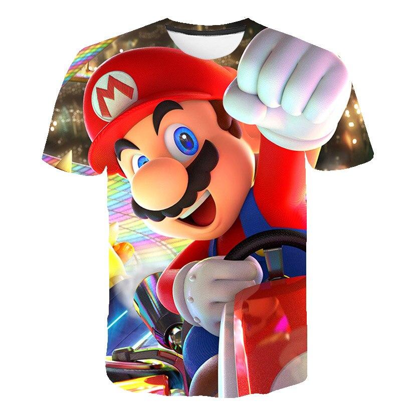 Boys and Girls Super Mario Bros. Game Cartoon Print T-shirt Children Mario Fun Clothes Casual Short Sleeve T-shirt