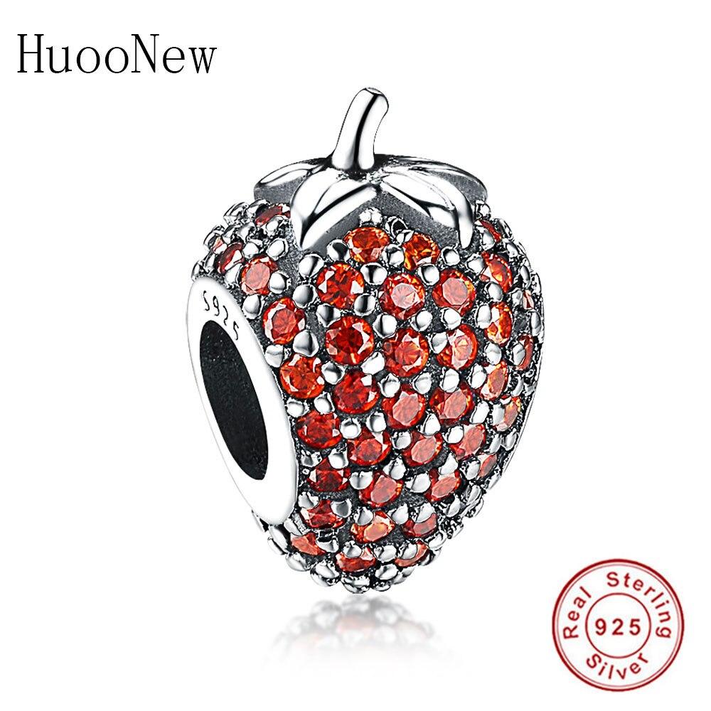 Pulsera de cuentas de fresa de circonio transparente rojo, Pulsera de abalorios Pandora Original, joyería de plata de ley 925, brazalete de fruta, Berloque