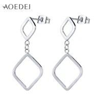 aoedej square shape stud earrings stainless steel earrings for women classic female ear piercing jewelry accessories gifts