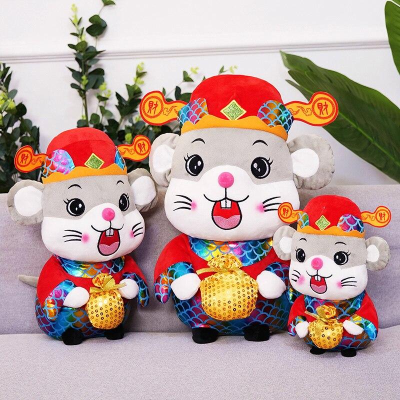 Прекрасный 22 см Новый год милые мышки плюшевые игрушки китайского зодиака крыса Бог богатства пара Мышь с счастливая сумка мягкая кукла, подарок на день рождения