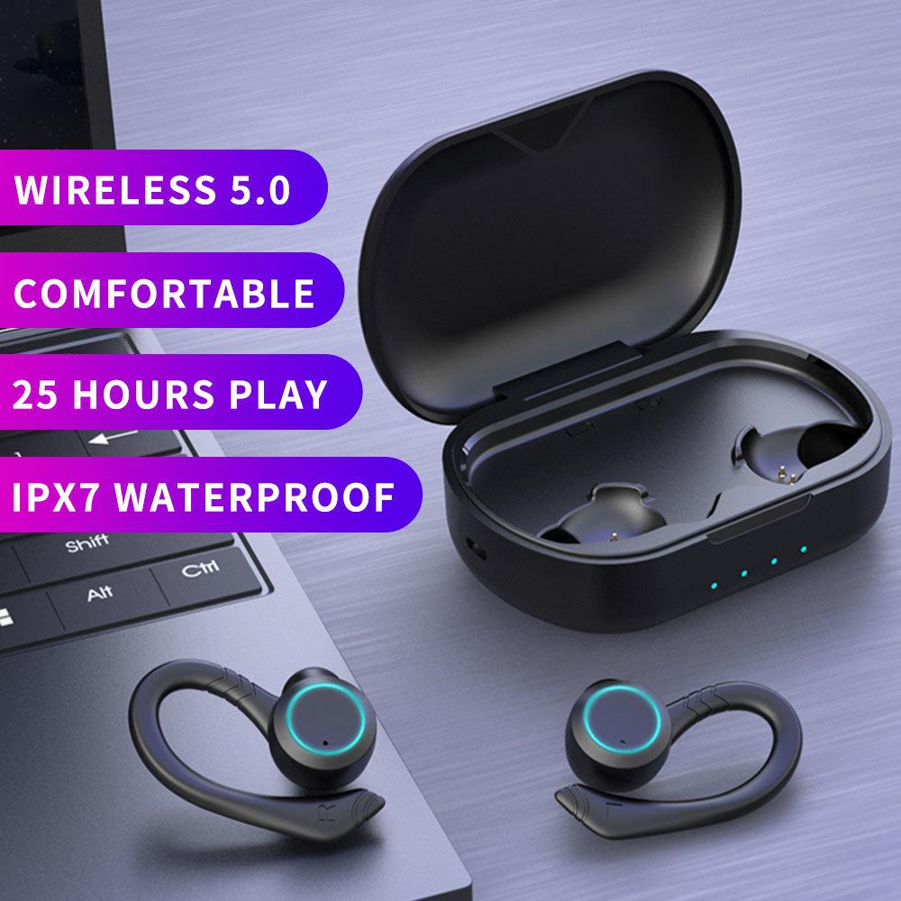 IPX7 Waterproof Wireless Sports Earphones Bluetooth 5.0 Touch Control Host Switch On-ear Headphones Professional Water-resistanc