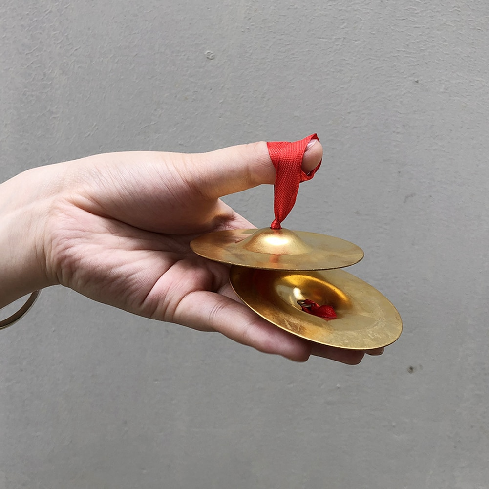 2pcs Musical Instrument Belly Dancing Indian Brass Finger Cymbals Middle East Percussion Cymbals Props Percussion Instrument