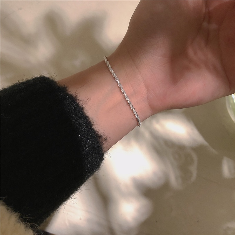 Sparkling Bracelets ~ Normcore Style 925 Silver Maintains Color Hand Jewelry Female South Korea High