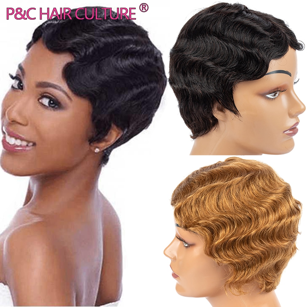 Finger Wave Wig Synthetic Human Hair Wigs Short Vintage Ombre Pixie Cut Wig For Black Women Glueless Retro High Quality Perruque