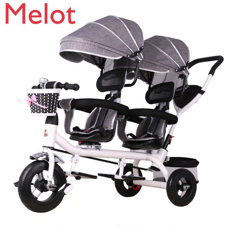 دراجة ثلاثية للأطفال توأم دراجة أطفال مزدوجة عربة أطفال لطفلين عربة أطفال خفيفة الوزن محمولة ذات جودة متينة