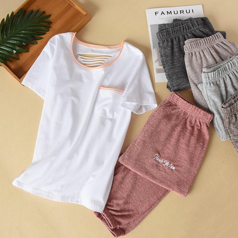 Pijamas de verano para mujer camiseta blanca + Pantalones de pie elásticos sueltos multicolor ropa de dormir Pijama de algodón ropa de casa