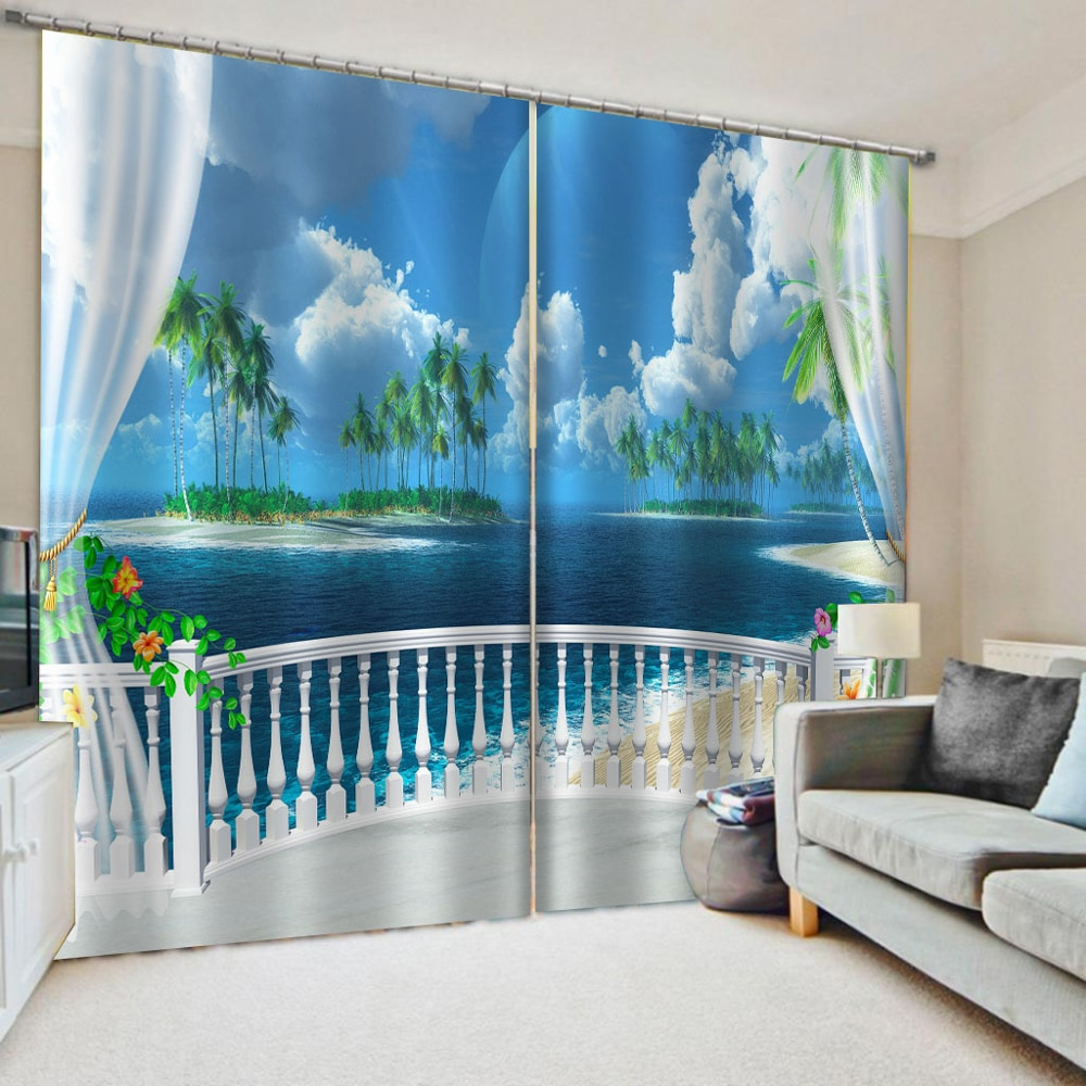 Modern Curtain Printing Living Room Bedroom 3D Curtain Drapes White Balcony Scenery Curtain Custom Any Size