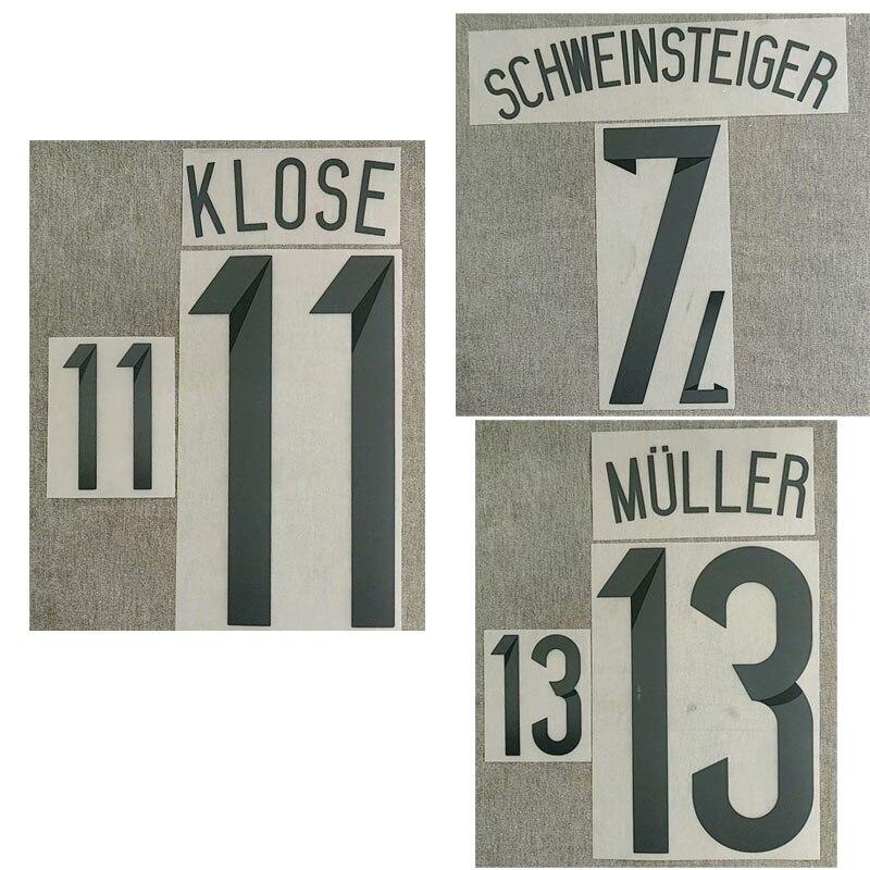 2014 Schweinsteiger Nameset Muller Klose impresión parche de fútbol insignia