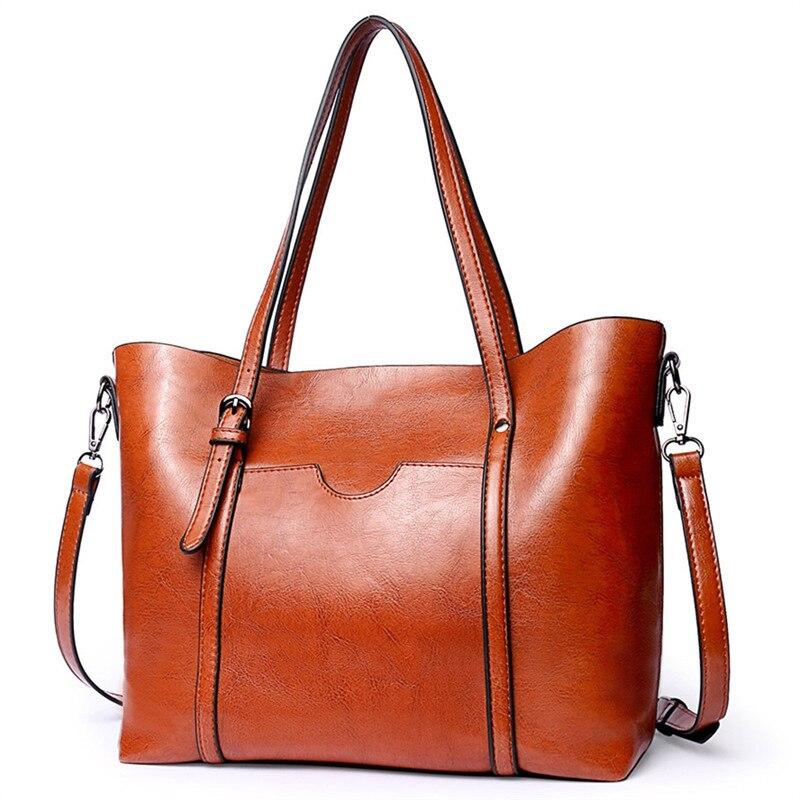 Alta qualidade feminina casual saco de cera de óleo bolsas de couro das mulheres de luxo senhora sacos de mão feminina saco do mensageiro grande tote sac bols