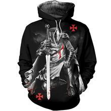 Drop shipping 3D Print Medieval Knights Templar Men hoodies Harajuku Fashion hooded Sweatshirt Unisex Casual jacket Hoodie QS20