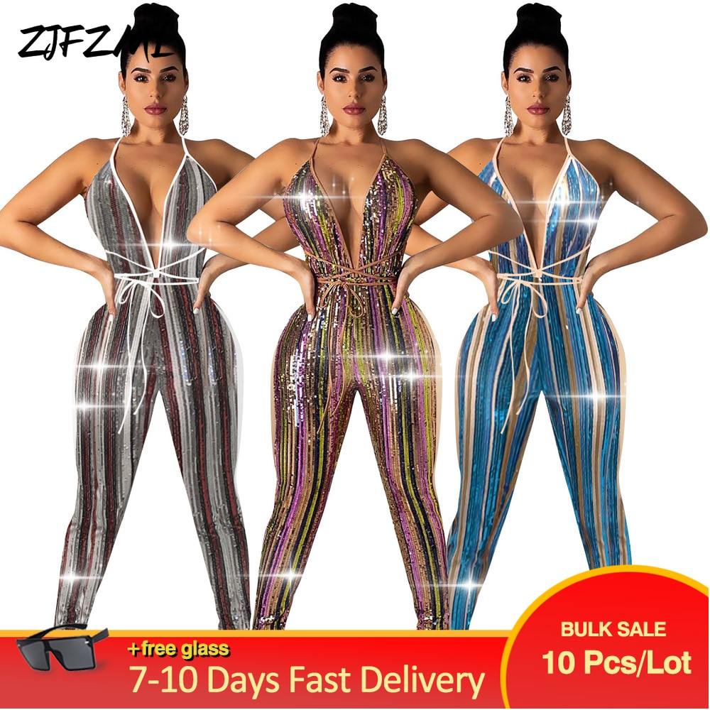 Bulk Items Wholesale Lots Sequin Rompers Womens Jumpsuit Sexy Chic Off The Shoulder Bodycon Overall Autumn One Piece Bodysuits