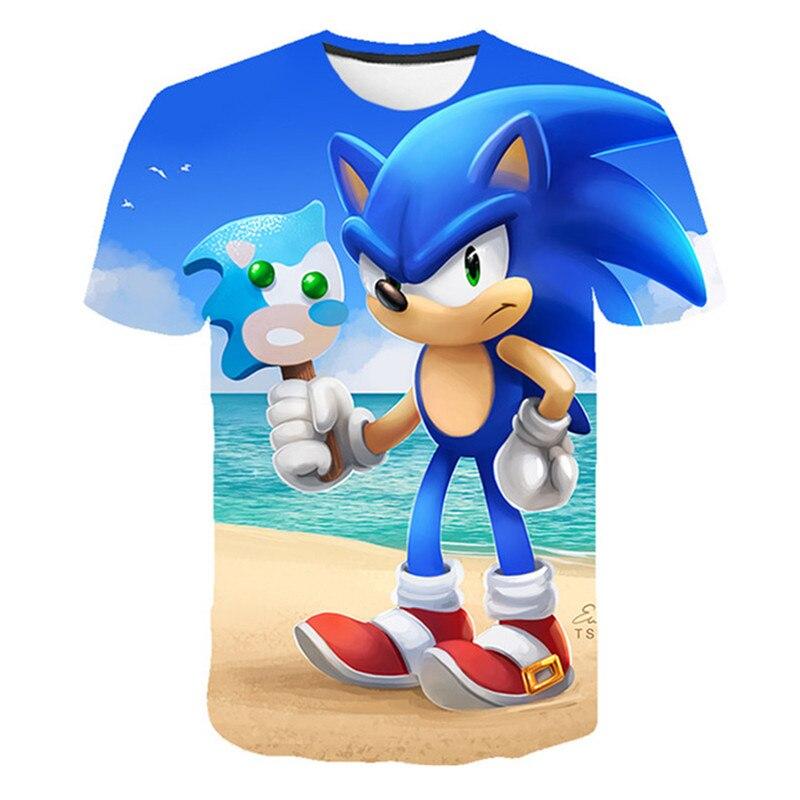 Футболка с короткими рукавами и принтом для мальчиков и девочек летняя футболка в стиле хип-хоп с мультяшным принтом Sonik Повседневный Топ дл...