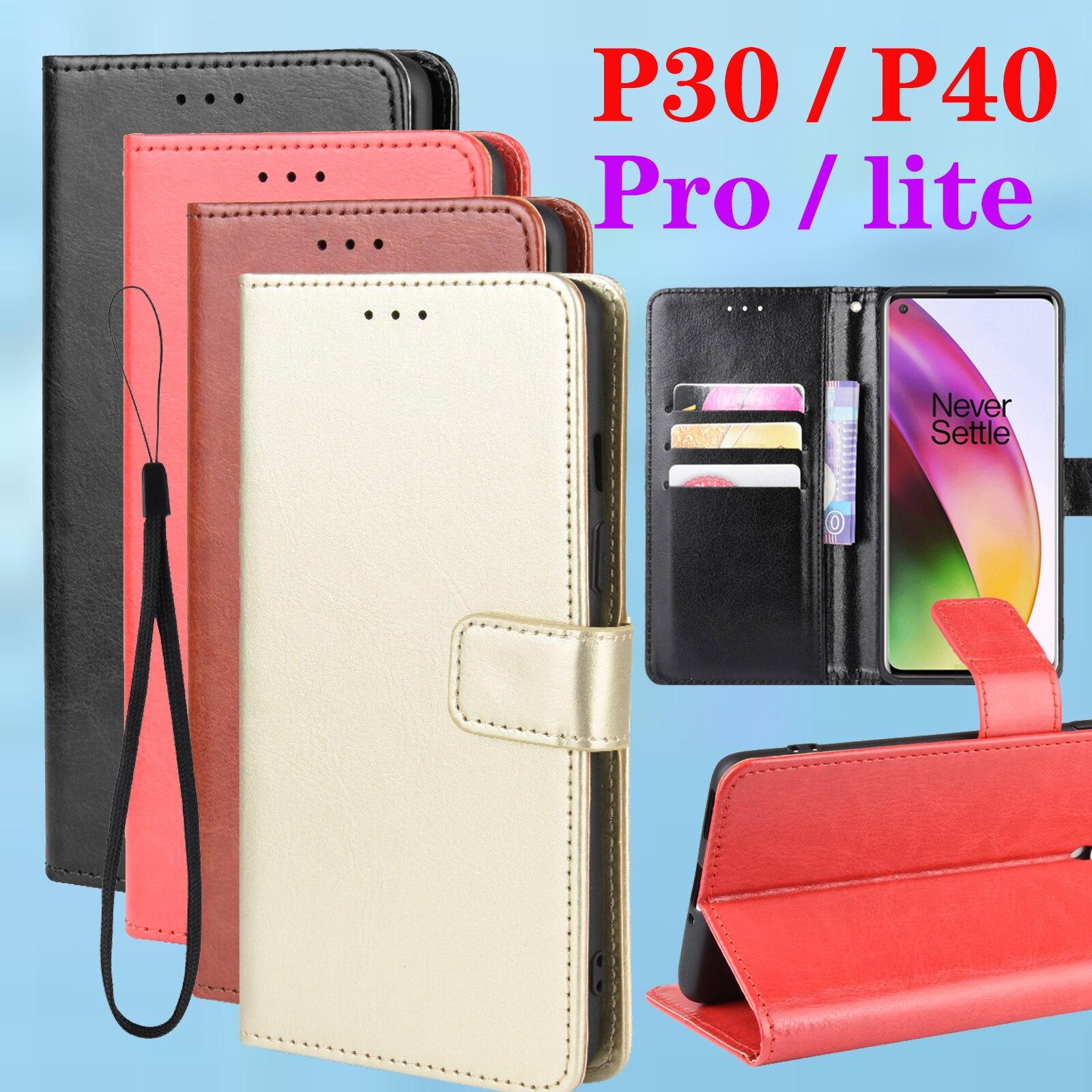 עבור Huawei p40 לייט מקרה p30 פרו flip p30lite p30prop40pro אור huavei coque p40lite funda טלפון p 40 30 כיסוי ארנק פגוש