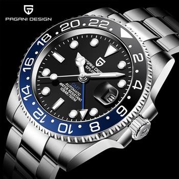PAGANI DESIGN 2020 luxe hommes mécanique montre-bracelet en acier inoxydable GMT montre haut marque saphir verre hommes montres reloj hombre