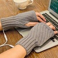 Women's Gloves Laptop Women Men Usb Heated Mitten Half Finger Winter Warm Knitted Hand Gloves Solid Color Fingerless Gloves
