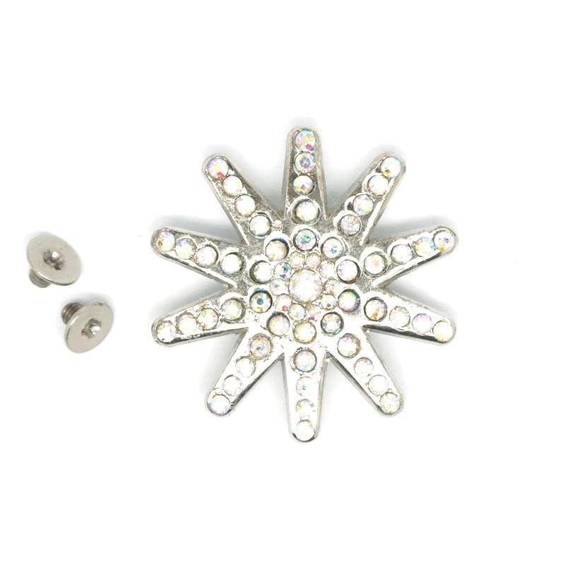 12 unidades/lotes cristal concho com parafuso rhystone metal flor conchos branco strass decoração cinto acessórios