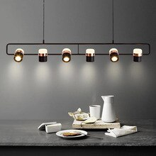 Nordic Strip Led Chandeliers Modern Simple Restaurant Cafe Bar Art Designer Hanging Lights Creative Table Suspended Luminaire