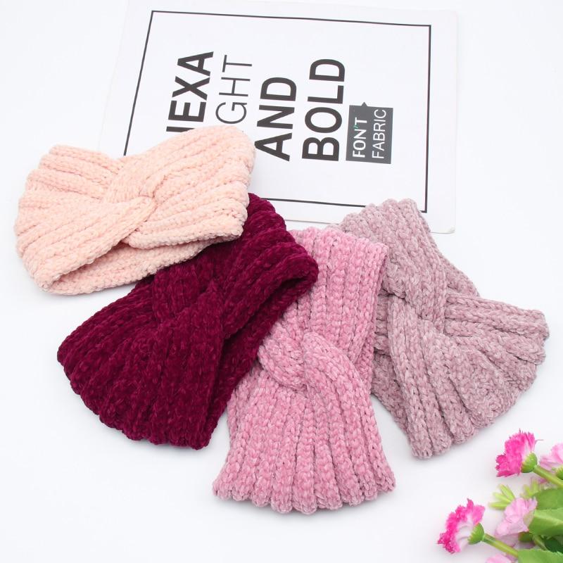 Женская трикотажная повязка на голову с бархатной подкладкой, теплая повязка на голову с переплетенным крестом для девочек, аксессуары для ...