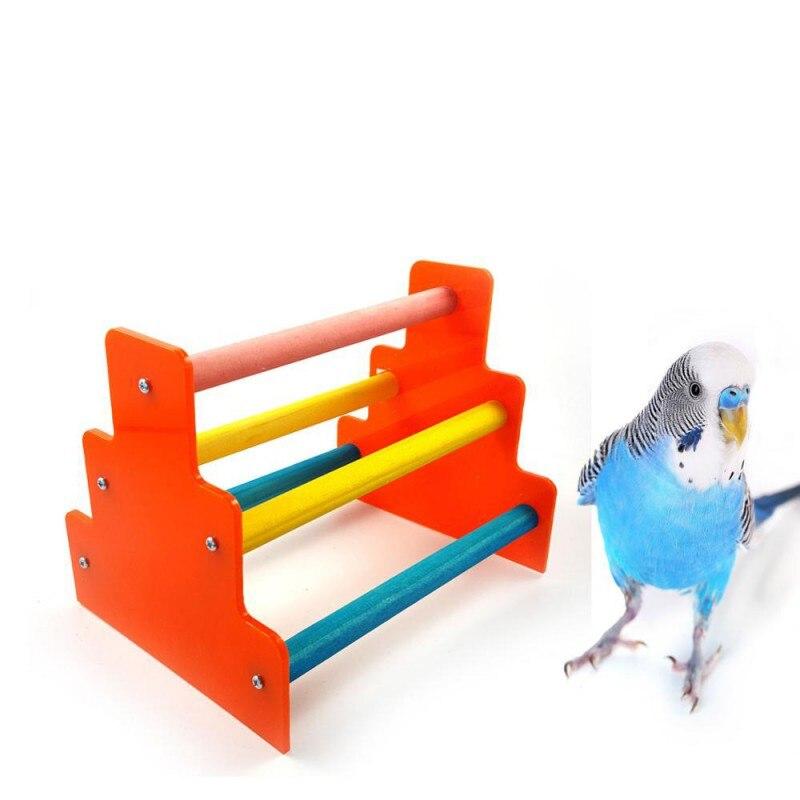 Escalera de escalada de loro de madera escalera para loros jaula de juguete para mascota Birda loro juguetes de entrenamiento 2