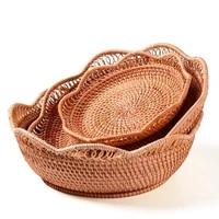 rattan basket storage kitchen organization rattan fruit basket bowls storage trays fruits vegetable baskets bakery bread tray
