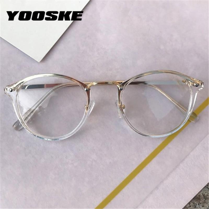 Gafas transparentes YOOSKE para mujer, monturas de gafas redondas Retro, monturas de gafas ópticas negras y rosas para mujer, montura para Miopía