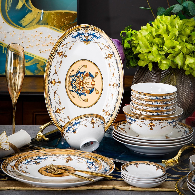 Jingdezhen 60 رئيس العظام الصين أدوات المائدة ، وعاء الذهب و طقم أطباق ، المنزلية الأوروبية هدية سيراميك أدوات المائدة