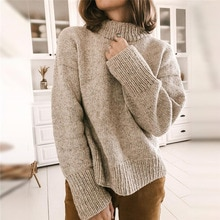 Western Style Winter Women's Sweater Half Trunkneck Solid Color Casual Loose Pullover Fashion Office