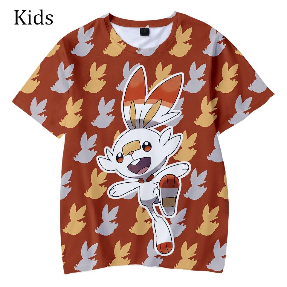 Populaire Pokemon épée et bouclier t-shirts enfants 3D été t-shirt garçons filles décontracté manches courtes Hip Hop 3D enfants Cool t-shirt