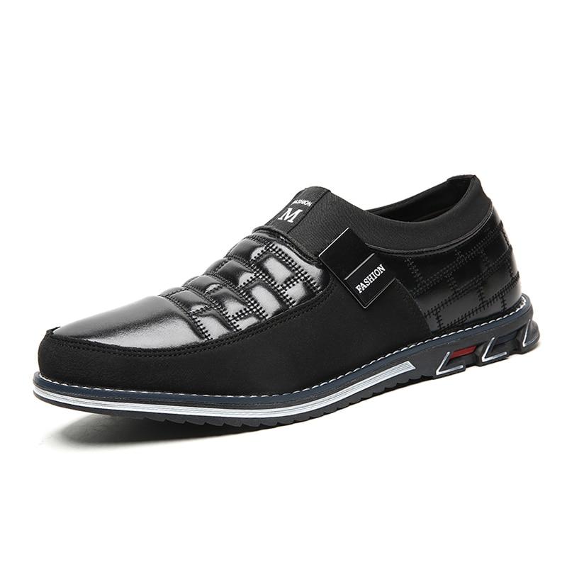 Men genuine leather shoes High Quality Elastic band Fashion design Solid Tenacity Comfortable Men's shoes big sizes EU38-48