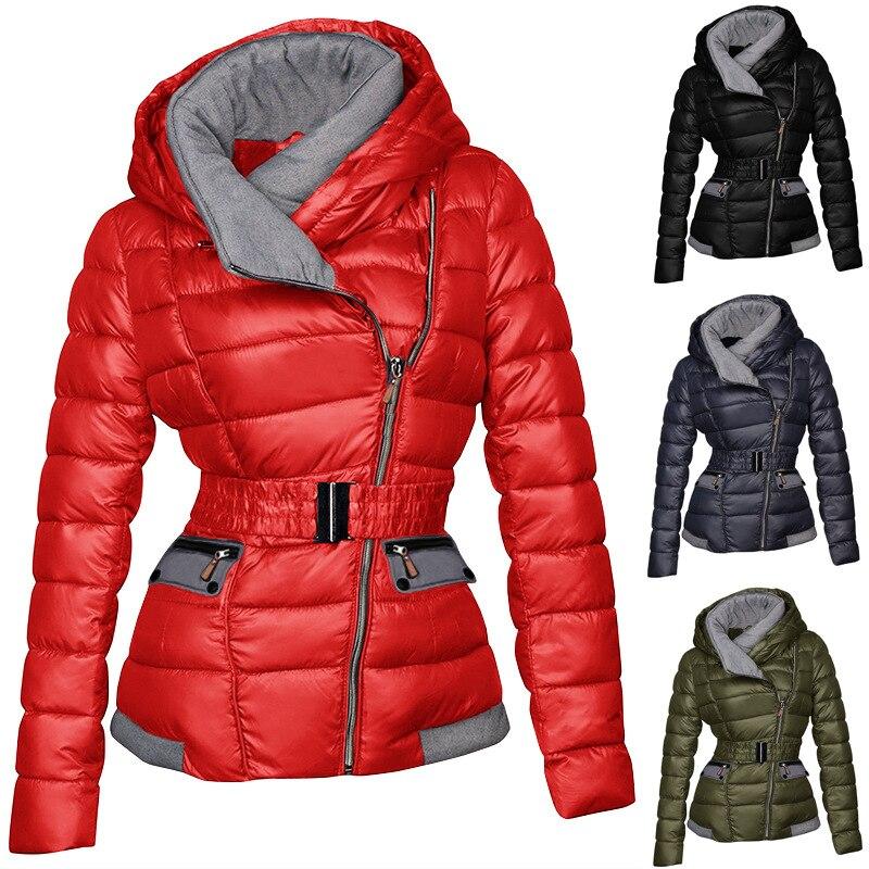 Lugentolo الشتاء معطف المرأة حجم كبير سترة منفوخة سستة كامل الأكمام الوقوف طوق بسيط سترة دافئة عادية