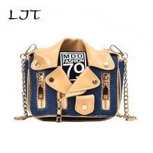LJT PU Leather Personality Small Bag Female 2019 Creative Brand Designer Messenger Chain Bag Handbags Women Rivet Crossbody Bag