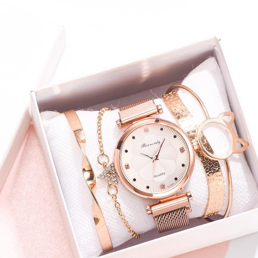 Fashion 5pcs Set Women Watches Luxury Magnet Buckle Flower Rhinestone Watch Ladies Quartz Wrist Bracelet Reloj Mujer