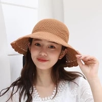 bow straw hat foldable beach hat boonie cap travel bucket cap hat sun hat floppy hat vintage rollable cap for seaside holiday