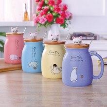 Creativo Color gato resistente al calor Mok dibujos animados con cubierta 420ml taza gatito café tazas de cerámica niños taza Oficina beber regalo