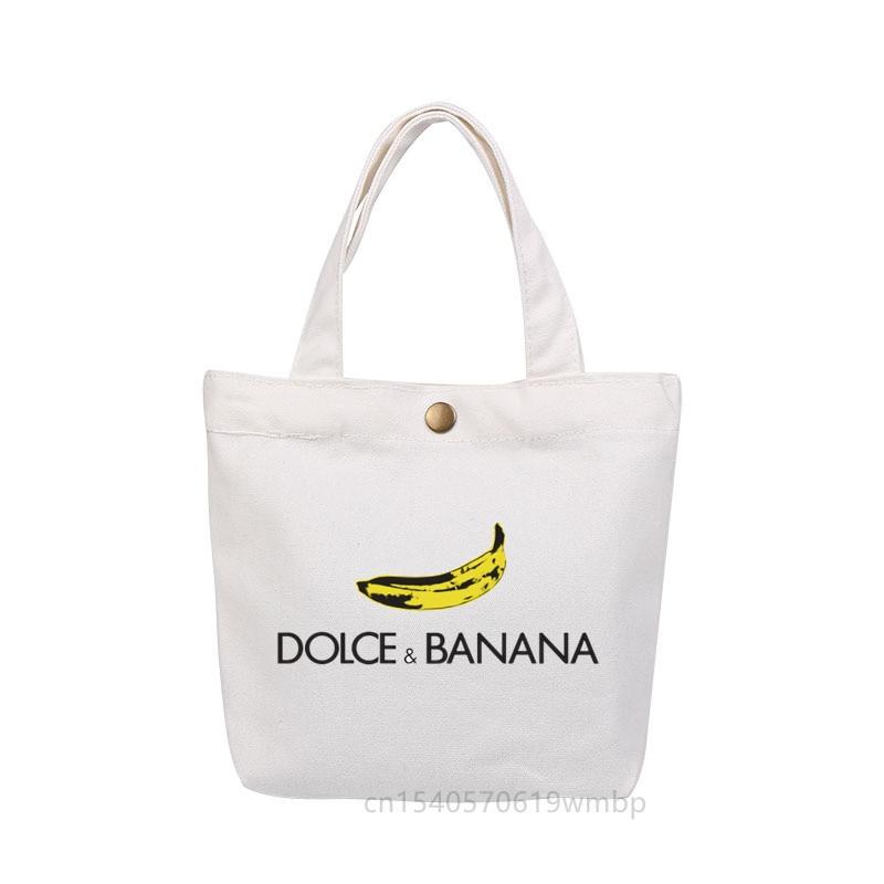 Новая забавная Холщовая Сумка-тоут с бананами, сумка для ланча, Модная Портативная маленькая сумка для еды с медной пряжкой