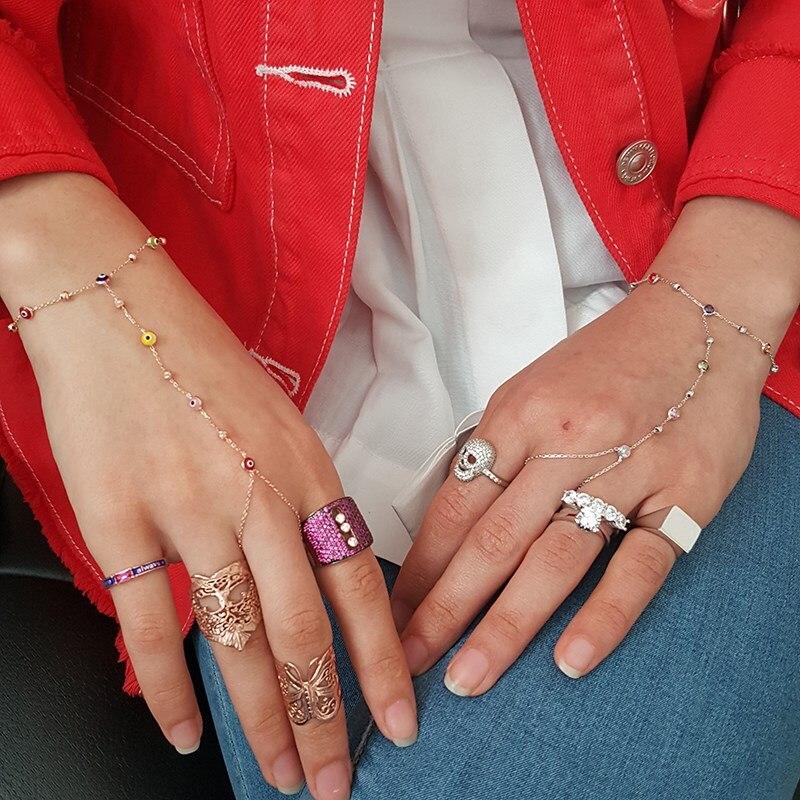 Bohème chanceux Bracelet 925 argent mauvais œil femme bague Bracelet déclaration turc mauvais œil été Collection or Rose Boho nouveau