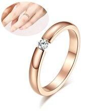 Bague de fiançailles pour femmes en acier inoxydable couleur argent couleur or doigt fille cadeau taille américaine 5 6 7 8 9 10